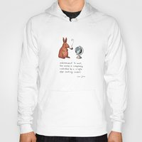 smoking Hoodies featuring Pipe-smoking rabbit by Marc Johns