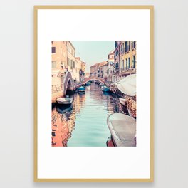 Boats rest in a Venice Canal Fine Art Print Framed Art Print