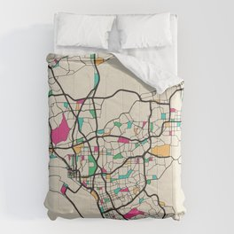 Colorful City Maps: San Diego, California Comforters
