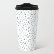 blue lily subtle pattern Metal Travel Mug