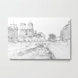 Illustration of Notre Dame de Paris Metal Print
