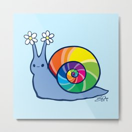 Rainbow Snail Metal Print