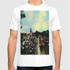 Waiting for a Train In Greensburg MEDIUM White Mens Fitted Tee