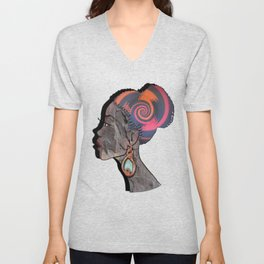 African woman profile on a woven basket Unisex V-Neck