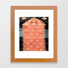 South West Anatolia  Antique Turkish Niche Kilim Print Framed Art Print