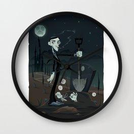 Funny scene in the cemetery. Wall Clock