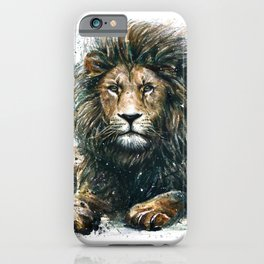 Lion watercolor painting iPhone Case