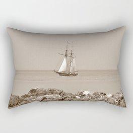 Tall ship sailing sepia finish Rectangular Pillow
