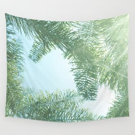 Nature photography tropical vibe vintage palm leaf II Wall Tapestry