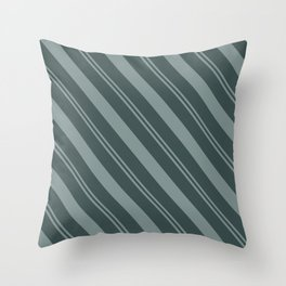 Scarborough Green PPG1145-5 Thick and Thin Angled Stripes on Night Watch PPG1145-7 Throw Pillow