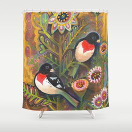 Pair of Red Breasted Grosbeak by Robynne Shower Curtain