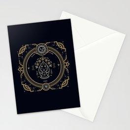 Virgo Zodiac Gold White on Black Background Stationery Cards