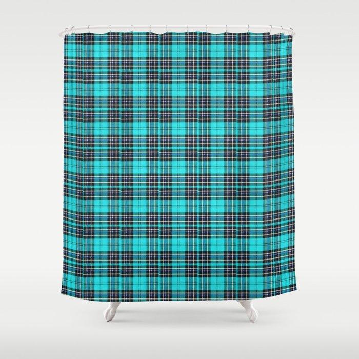 Lunchbox Blue Plaid Shower Curtain by nancysmith | Society6