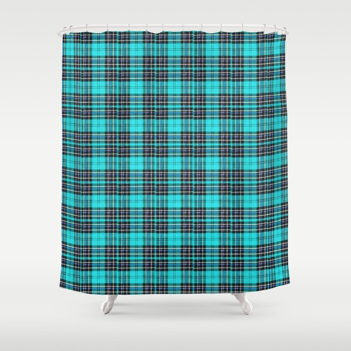 Lunchbox Blue Plaid Shower Curtain By Nancysmith