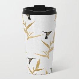 Hummingbird & Flower II Metal Travel Mug