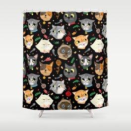Neighborhood Cats in Black Shower Curtain
