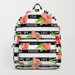 Fruit of the spirit - stripes with peonies Backpack