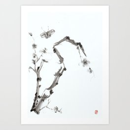 Plum Blossom and Butterfly Art Print