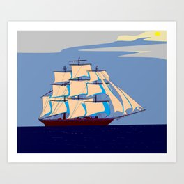 A Clipper Ship with Gray Skies, Sunset Art Print