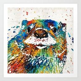 Otter Art - Ottertude - By Sharon Cummings Art Print