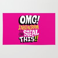 instagram Area & Throw Rugs featuring OMG! INSTAGRAM! by Chris Piascik