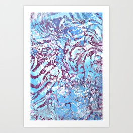 animal skin layers textured in teal and deep purple Art Print