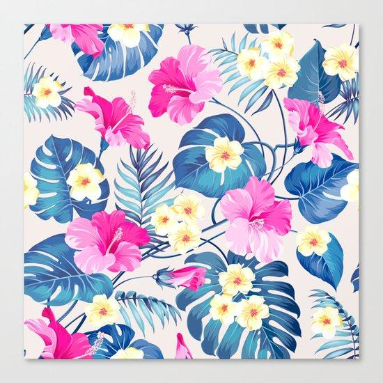 Tropical Pattern - Blue & Pink version Canvas Print