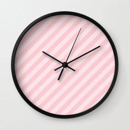 Light Millennial Pink Pastel Candy Cane Stripes Wall Clock