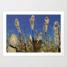 Human cornfield /Maizal humano Art Print