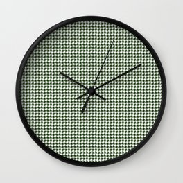 Dark Forest Green and White Hounds Tooth Check Pattern Wall Clock
