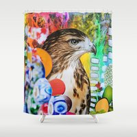 hawk Shower Curtains featuring Psychedelic Hawk by John Turck