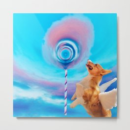 Giant pink cloud lollipop and a flying corgi Metal Print