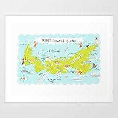 map of PEI Art Print