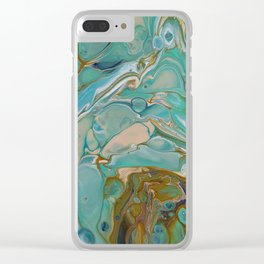 Colorful Blue Fluid Acrylic Painting Clear iPhone Case