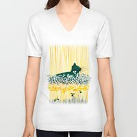 clover V-neck T-shirts featuring Clover Cat by Priscilla Moore