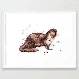 Otter, otter painting, watercolor, animal art Framed Art Print