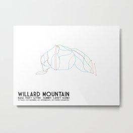 Willard Mountain, NY - Minimalist Trail Art Metal Print