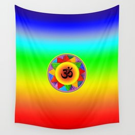 Ohm with Chakra Colours Wall Tapestry