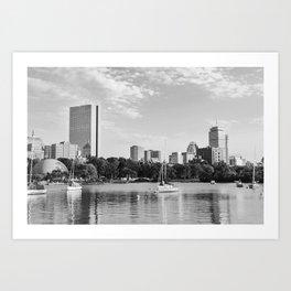Black & White Boston Skyline I Art Print
