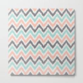Mint Gray Coral Zigzag Pattern Metal Print