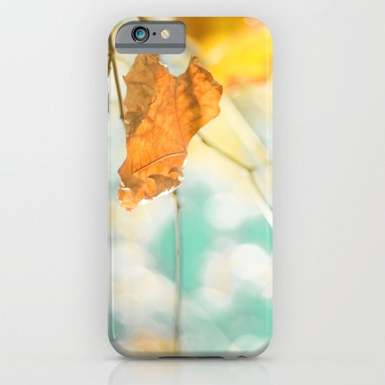 Gold Autumn Fall Leafs on Dreamy Blue Turquoise Vintage Retro Sky  iPhone & iPod Case