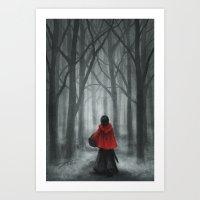 red hood Art Prints featuring Red Hood by Svenja Gosen