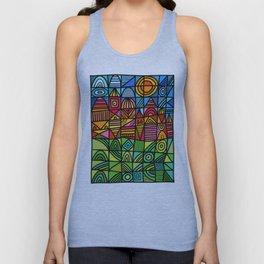colorful geometric landscape 001 Unisex Tank Top