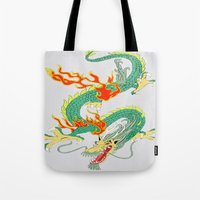 chinese Tote Bags featuring Chinese Dragon by J&C Creations