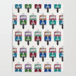 Thailand Tuk Tuks in a Row Pattern Poster
