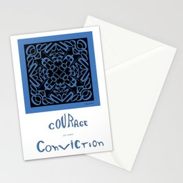 Courage of her Conviction Mandala - Blue Black Stationery Cards
