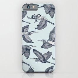 great blue herons sky blue iPhone Case