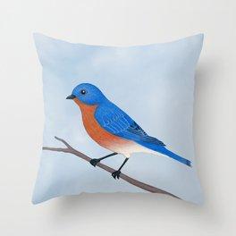 male eastern bluebird portrait Throw Pillow