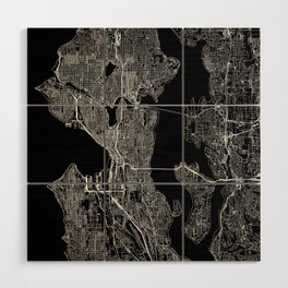 Seattle Black Map Wood Wall Art