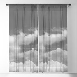 Clouds in black and white Sheer Curtain